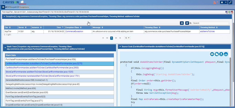 Deep diagnostics up to code / method level root cause analysis